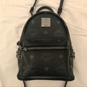 MCM Mini Black Stark Side Stud Backpack in Visetos
